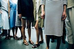 Relaxed stripes, full skirts and flat supple sandals feel like my kind of Spring-Summer.  Lea Colombo shoots Margaret Howell SS14 for Dazed Digital.
