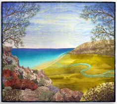 """""""Torrey Pines"""", 40 x 45"""",  landscape quilt by Betty Busby.  Handpainted silk."""