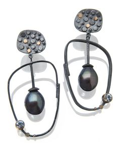 Tide Pool hoop earrings: peacock pearls and faceted aquamarines set in oxidized silver with 18k gold details. More earrings: http://sydneylynch.com/designline/earings.html