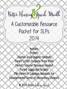 Better Hearing & Speech Month (BHSM) Freebie for SLPs/Teachers. From @Sublime Speech