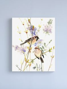 """""""Sparrows and Spring Blossom"""" Canvas Print by surenart 