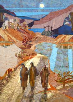 Jesus Art Print featuring the painting Road To Emmaus by Michael Torevell Catholic Art, Religious Art, Road To Emmaus, Bible Images, Prophetic Art, Jesus Art, Church Banners, Biblical Art, Landscape Quilts