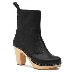 Perforated Zipper Boot Black by Swedish Hasbeens via fab.com.