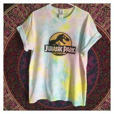 4864b4efccdf32 Tie Dye Jurassic Park TShirt Jurrasic World Shirt Custom Pastel Tie Dye