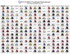 2013 SEC Helmet Football Schedule