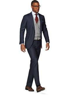 Birdseye blue suit