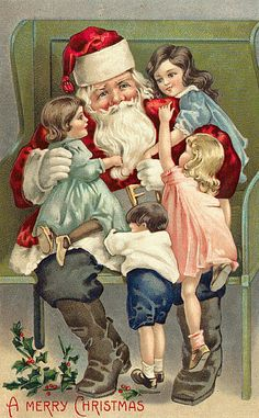 Vintage Christmas Santa Claus, St. Nick, Father Time, Christmas