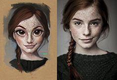 Ilustrações de pessoas aleatorias por Julio Cesar.