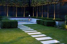Spa garden with garden house containing gym Side Yard Landscaping, Modern Landscaping, Backyard Patio, Outdoor Pool, Back Gardens, Small Gardens, Dream Garden, Home And Garden, Moderne Pools