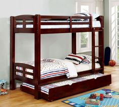Furniture of America Sophia Transitional Wooden Bunk Bed, Twin over Twin, Espresso, Brown Trundle Mattress, Bunk Bed With Trundle, Full Bunk Beds, Kid Beds, Bunk Beds With Drawers, Wooden Bunk Beds, Twin Car Bed, Low Loft Beds, Twin Platform Bed