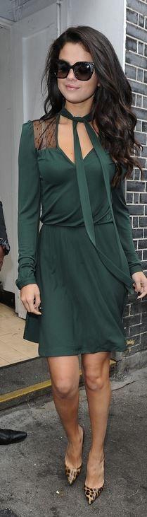 Selena Gomez: Sunglasses – Jimmy Choo  Dress – Valentino  Shoes – Christian Louboutin