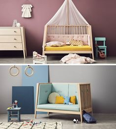 This transitional modern nursery furniture was once a baby cot that transformed into a small day bed or couch.
