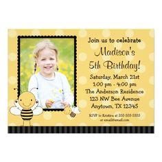 Photo Card Birthday Invitation Bumble Bee Photo Birthday Party Invitations