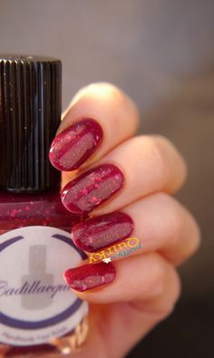 Cadillacquer Glowing Christmas - red glitter jelly indie nail polish