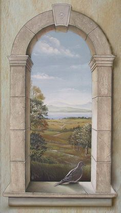 Trompe l' oeil Arched Window with Dove by rlazzaro, via Flickr