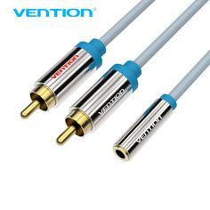 Vención cable RCA 2 Macho a 1 Mujer 3.5mm Cable de Audio Estéreo Sistema de Sonido Del Amplificador de Audio Y Splitter Cable para VCD Casa HDTV teatro