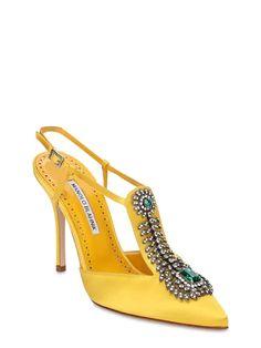 Manolo Blahnik - 105mm jamala embellished satin pumps - Yellow | Luisaviaroma Satin Pumps, Manolo Blahnik, Slingbacks, Yellow, Heels, Toe, Closure, Crystals, Leather