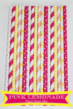 50 Pink Lemonade Paper Straw Mix  PAPER STRAWS birthday party bridal shower event cake pop sticks Bonus diy straws flag on Etsy, $8.00
