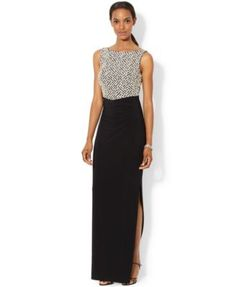 Lauren Ralph Lauren Sleeveless Sequined Geo-Pattern Gown - Dresses - Women - Macy's