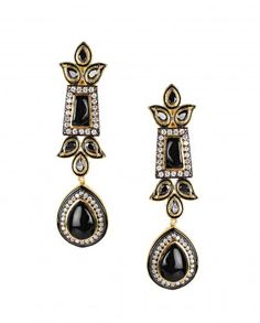 Dangling Earrings with Black Stone Embellishments