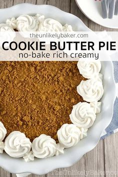 Cookie butter pie - rich, creamy cookie butter cream cheese filling on a crunchy, buttery cookie butter crust. Cookie butter pie - rich, creamy cookie butter cream cheese filling on a crunchy, buttery cookie butter crust. Biscoff Cookie Butter, Butter Cookies Recipe, Nutter Butter, Tart Recipes, Sweet Recipes, Cookie Recipes, Biscoff Recipes, Cheesecake Recipes, Yummy Recipes