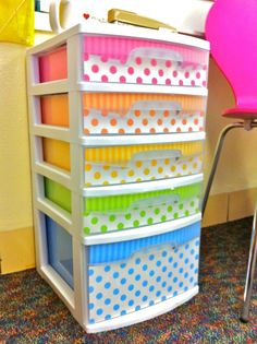 Directions to pretty up sterilite drawers which is a great idea because they are not pretty usually! - Need to do this to the sterilite that holds fabric scraps in the craft room!