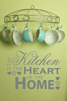 Kitchen Wall Decor Sayings i like the idea of putting these mugs around the kitchen wall with eat.love in each wall and some utensils around too Kitchen Quotes, Kitchen Posters, Wall Decor Quotes, Quote Wall, Vinyl Wall Decals, Kitchen Decor, Kitchen Ideas, Kitchen Stuff, Kitchen Design