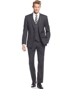 Unlisted by Kenneth Cole Multi-Striped Slim-Fit Vested Suit - Shop All Suits - Men - Macy's