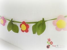 Spring decor -Felt flower Banner/garland/Bunting – nursery décor –girl room décor –wedding garland , Bridal shower -Free Shipping by BugsNSmiles on Etsy https://www.etsy.com/listing/216811647/spring-decor-felt-flower