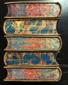 I adore leather bound books with marbled endpapers. This is a very nice stack. Vintage Book Covers, Vintage Books, Old Books, Antique Books, Book Cover Art, Book Art, I Love Books, Books To Read, Leather Bound Books