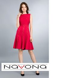 #lady in #red #classy #elegance #casual #dress #tadashishoji