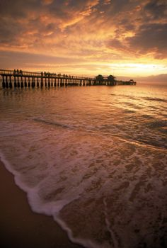 Premium Thick-Wrap Canvas Wall Art Print entitled Sunset by pier, Naples Beach, FL, None Florida Keys, Florida Vacation, Florida Travel, Florida Beaches, Vacation Spots, Italy Vacation, Beach Travel, Naples Pier, Naples Beach