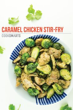 Caramel Chicken and Brussels Sprouts Stir-Fry   Weeknight Meal #recipe via @CookSmarts  http://www.cooksmarts.com/cs-blog/2014/11/caramel-chicken-brussels-sprouts-stir-fry-recipe/