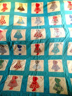 Vintage Handmade Quilt Sunbonnet Sue Friendship Quilt Baptist Church Congregation Quilt