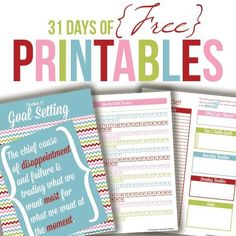 Complete set of printables to organize your home and life - includes goal setting, planning, cleaning, meal planning, finances, and more!