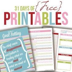 31 Days Printables - menu planning, daily docket, habit making sheets, etc...