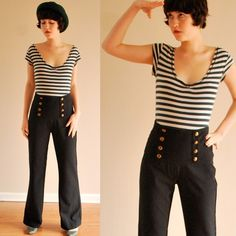 Wide-leg military pants ... check the double row of buttons!