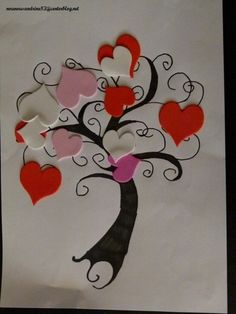 activité manuelle : saint valentin,gommettes, arbre à coeurs