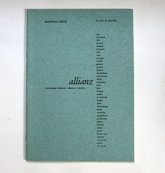 max bill/ 1942/ exhibition catalogue of the allianz, a group of swiss modern artists
