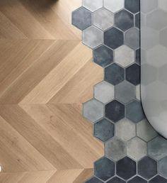 Ideen rund ums Haus When the client wants both hardwoods and tile in their bath Planchers En Chevrons, Parquet Chevrons, Floor Design, Tile Design, House Design, Transition Flooring, Hexagon Tiles, Hex Tile, Deco Design