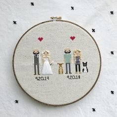 Anniversary Gift Cross Stitch Family Portrait Then and Now Cotton Anniversary Gift Wedding Couple Linen Anniversary Present for Her Gift for 2 Year Anniversary Gift, Cotton Anniversary Gifts, Second Anniversary, Wedding Anniversary, Anniversary Surprise, Personalised Family Print, Personalized Valentine's Day Gifts, Personalized Wedding, Cross Stitch Family