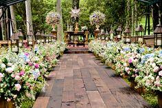 Decoração de casamento em tons de rosa e azul -