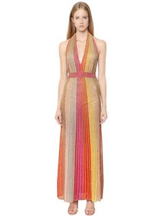 M MISSONI LUREX KNIT LOW CUT OPEN BACK DRESS, FUCHSIA/YELLOW. #mmissoni #cloth #dresses