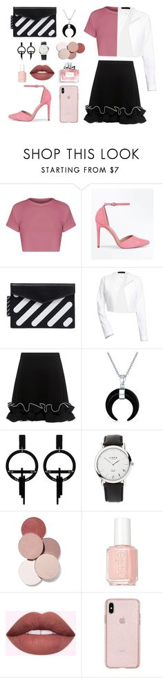 """B&W🌸"" by roahabutaleb ❤ liked on Polyvore featuring BasicGrey, New Look, Off-White, Boutique Moschino, Bling Jewelry, Toolally, Links of London, LunatiCK Cosmetic Labs, Christian Dior and Essie"