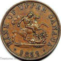 """""""St George the Dragon Slayer"""" 1852 BANK OF UPPER CANADA Halfpenny  Sku #QP12 Big Brother 1, Saint George And The Dragon, Canadian Things, O Canada, Old Money, Dragon Slayer, Rare Coins, Coin Collecting, How To Make Money"""