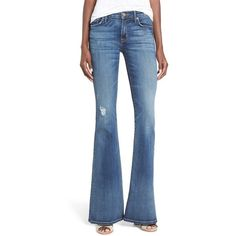 Women's Hudson Jeans 'Jodi' High Rise Flare Jeans ($210) ❤ liked on Polyvore featuring jeans, anchor light, flared leg jeans, high rise jeans, highwaist jeans, patching blue jeans and high-waisted jeans
