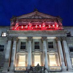Somerset House ~ Gavin Turk's neon installation 'Now', an estimate of global population on 17/03/2015