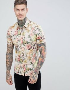 Buy ASOS DESIGN skinny floral printed shirt at ASOS. With free delivery and return options (Ts&Cs apply), online shopping has never been so easy. Get the latest trends with ASOS now. Asos, Going Out Shirts, Tailored Shirts, Gingham Shirt, Satin, Mens Clothing Styles, Clothing Ideas, Shirt Shop, Printed Shirts