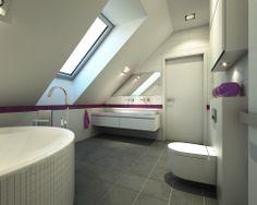 biała łazienka z fioletowym akcentem (łazienka przy sypialni)