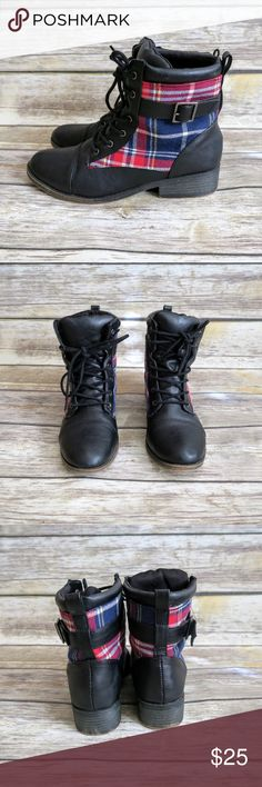 Black lace up ankle boots Brand: Leila Stone Size: 7 Color: Black/ Red/ White/ Blue Condition: Like new  Lace up Plaid print Buckle strap Combat boot Small heel No Trade Leila Stone Shoes Lace Up Boots